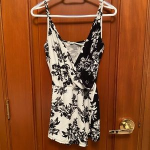 Floral black and white romper